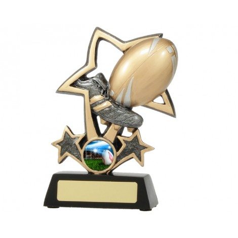 Rugby Boot & Ball Bursting Star Resin Trophy