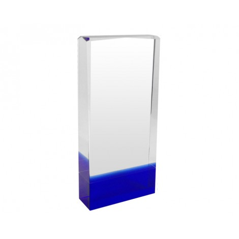 66. Solid Block Blue Reflection Crystal Award