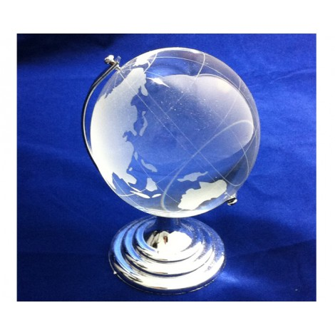 A125. Crystal World Globe on Stand