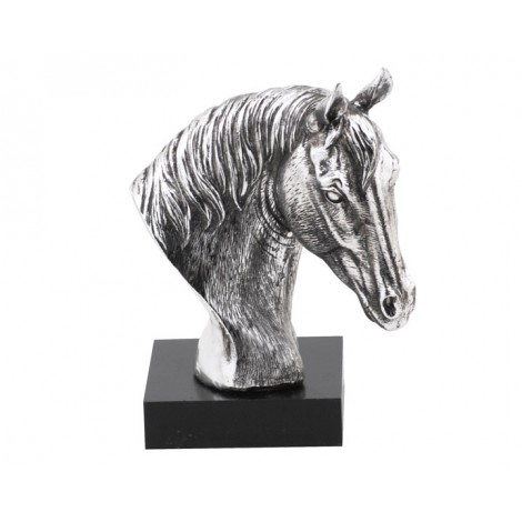 04. Silver Horse Head on Black Base