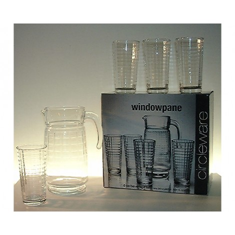 06. Circleware 'Windowpane' Water Jug & Hi-Ball Glasses, Set of