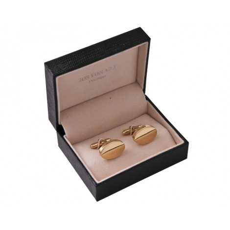 07. Shiny Oval Gold Men's Cufflinks, Gift Boxed