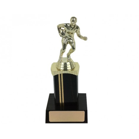 77. Rugby Figure Black Wood Coloumn & Base Trophy