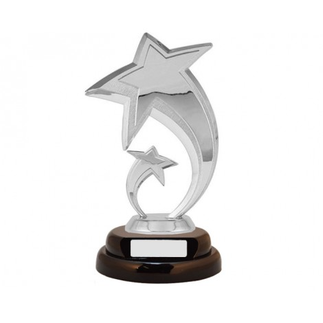 31. Shooting Silver Star Figure, Wooden Base