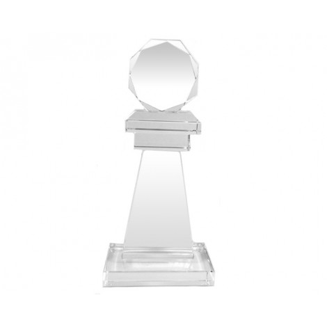 55. Round Faceted Top on Pillar Crystal Award