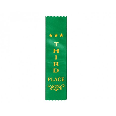 Third Place Green Ribbon, Gold Foiled Finish