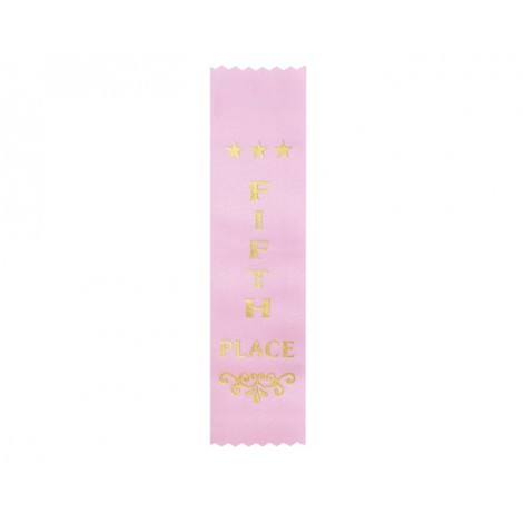 Fifth Place Pink Ribbon, Gold Foiled Finish