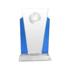 86. Globe Medium Clear & Blue Reflection Crystal Award