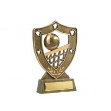 03. Small Volleyball Shield & Stars Resin Trophy