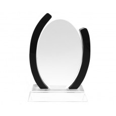 69. Clear & Black Oval Crystal Award