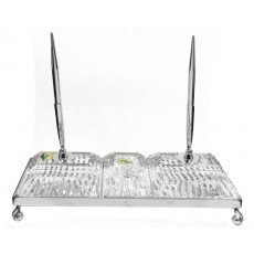 08. Waterford Crystal Executive Desk Set with Chrome
