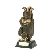 Golf Bag & Clubs Resin Trophy