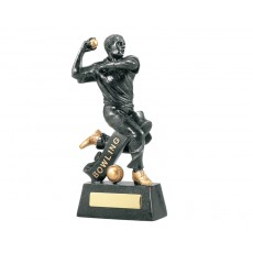 Cricket Action Bowler Black & Gold Resin Trophy