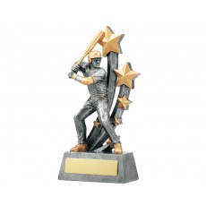 Male Baseball Action Resin Trophy