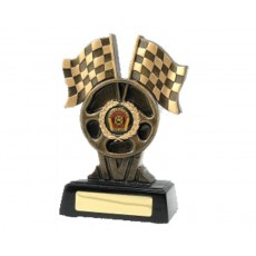 93. Large Racing Flags Resin Trophy