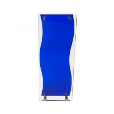 Acrylic Award, Blue & Clear Wave Rectangular