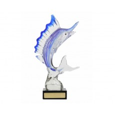 09. Art Glass Marlin on Black Base