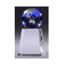 A127. Blue & Silver Glass Globe Award on Optical Crystal Base