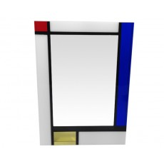 96. Clear Crystal Award Rectangle with White, Yellow, Red and Bl