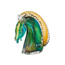 30. Coloured Glass 'Knight' Horse Head, Green & Gold Award