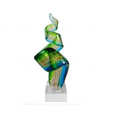 07. Coloured Glass 'Ribbon' Blue & Green on Base
