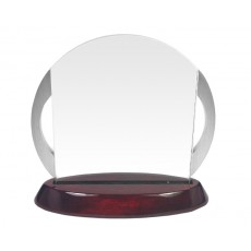 49. Chrome Handles, Rosewood Finish Base Glass Award