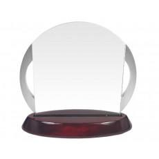 49. Chrome Handles, Rosewood Finish Base Glass Award