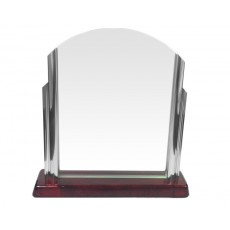 50. Chrome, Rosewood Finish Base Glass Award