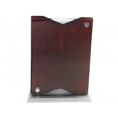 51. Chrome & Rosewood Finish Glass Award