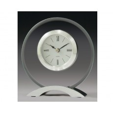 18. Glass & Chrome Round Mantel Clock
