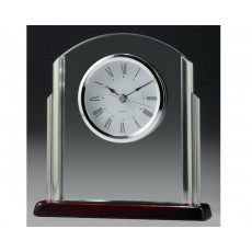 11. Glass, Chrome & Piano Finish Mantel Clock