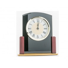 07. Black Glass & Wooden Clock