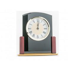 07. Black Glass & Wooden Clock