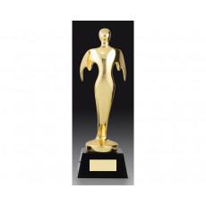 25. Gold Metal Victory Figure on Black Crystal Base