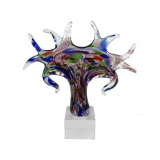 Coloured Glass 'Tree of Life' Sculpture on Base