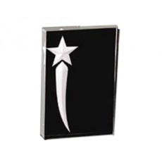 Acrylic Award, Black Star, Rectangular