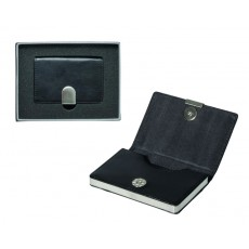 Executive Business Card Case Black Leather Look