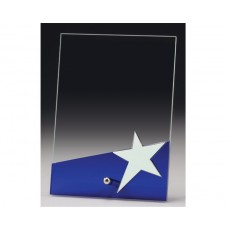 A204. Blue & Chrome Star Glass Award