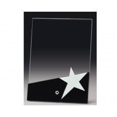 A202. Black & Chrome Star Glass Award