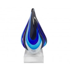 11. Coloured Glass Blue and Black Twisted Flame Award