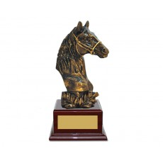 36. Horse Head on Piano Finish Base Trophy