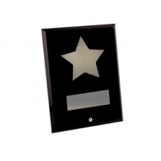 Black Rectangular Glass Chrome Star