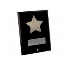 Black Rectangular Glass Chrome Star Award