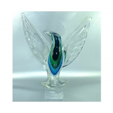 50. Coloured Glass Eagle with Crystal Base