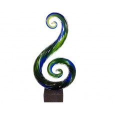 46. Coloured Glass 'Swan', Marble Base
