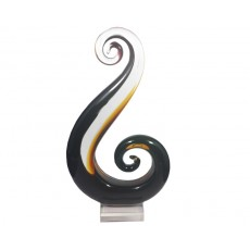 19. Coloured Glass 'Wings of Song' Amber & Dark Brown, Clear Bas