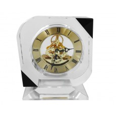 10. Clear & Black Crystal Clock, Gold Skeletan Dial