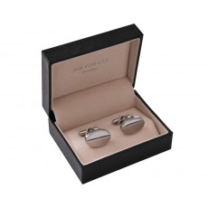 08. Shiny Oval Gold Men's Cufflinks, Gift Boxed