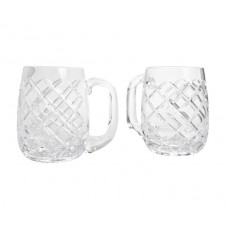 01. Crystal 'Solitaire - Dublin' Barrel Tankards, Set of 2