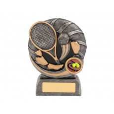 37. Small Bursting Tennis Racquet & Ball Resin Trophy